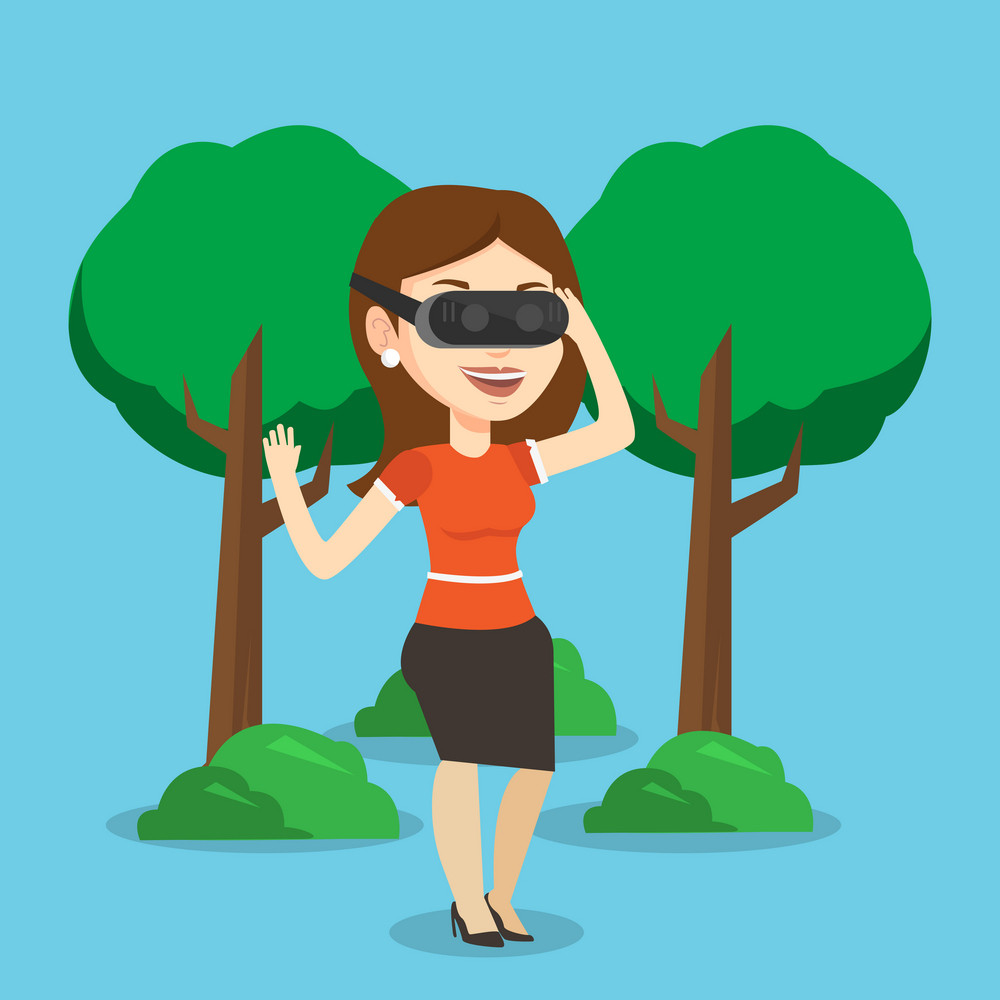 Young cheerful caucasian gamer wearing virtual reality headset in the park. Happy woman using virtual reality glasses and playing videogame in the park. Vector flat design illustration. Square layout.