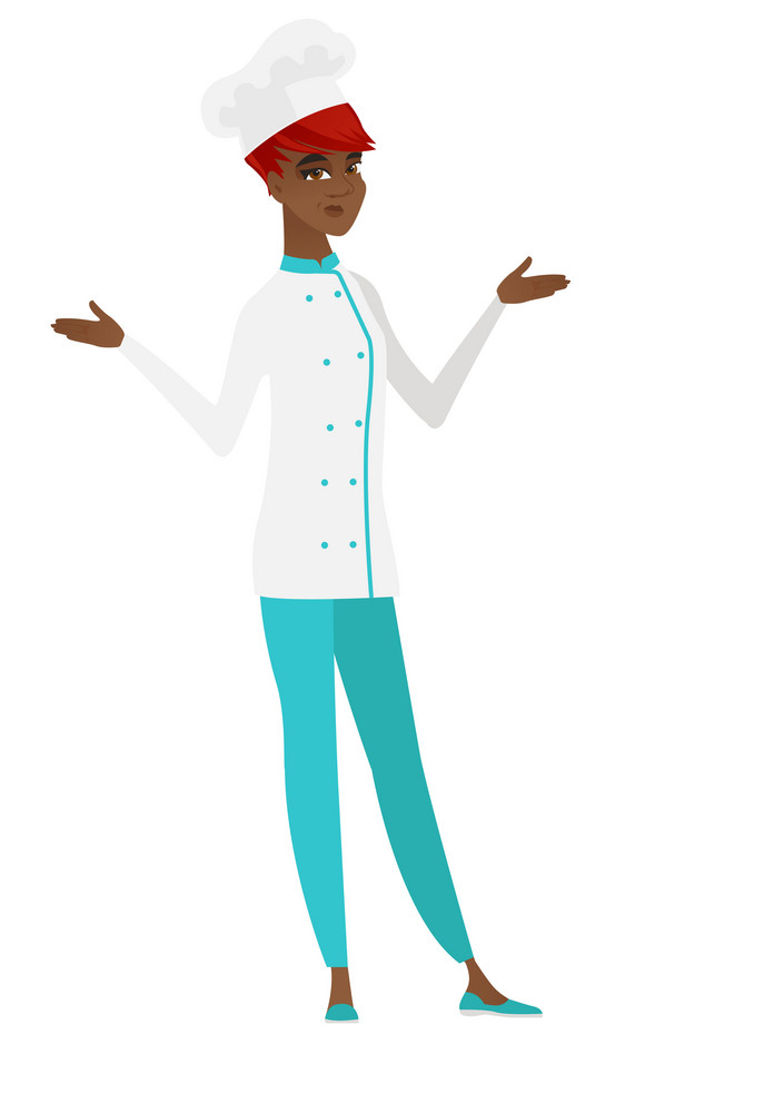 Young confused chef cook with spread arms. Full length of african-american confused chef cook. Confused chef cook shrugging her shoulders. Vector flat design illustration isolated on white background.