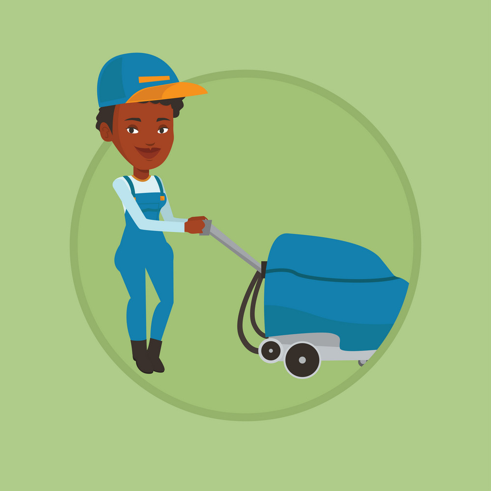 Young cucasian woman cleaning supermarket floor. Woman working with cleaning machine. Worker of cleaning services in supermarket. Vector flat design illustration in the circle isolated on background.