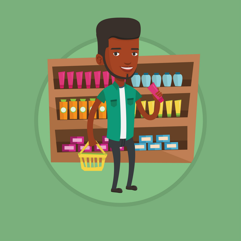 Young customer shopping at supermarket with basket. Customer holding a shopping basket in one hand and a tube of cream in another. Vector flat design illustration in the circle isolated on background.