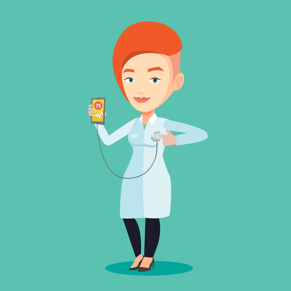 Young doctor holding smartphone with application for measuring heart rate pulse. Caucasian doctor showing application for checking heart rate pulse. Vector flat design illustration. Square layout.
