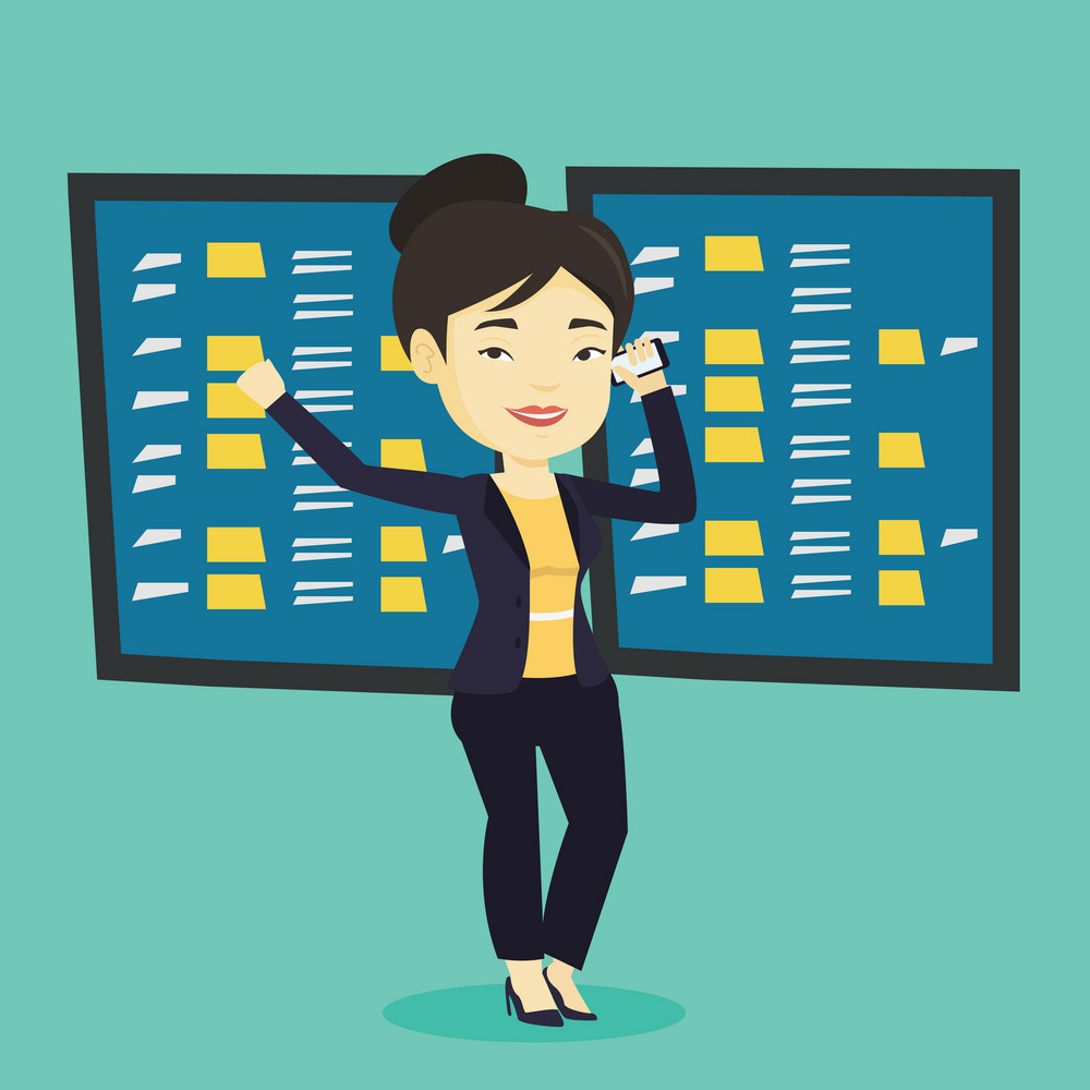 Young excited asian stockbroker talking on a mobile phone on the background of display of stock market quotes. Cheerful stockbroker at stock exchange. Vector flat design illustration. Square layout.