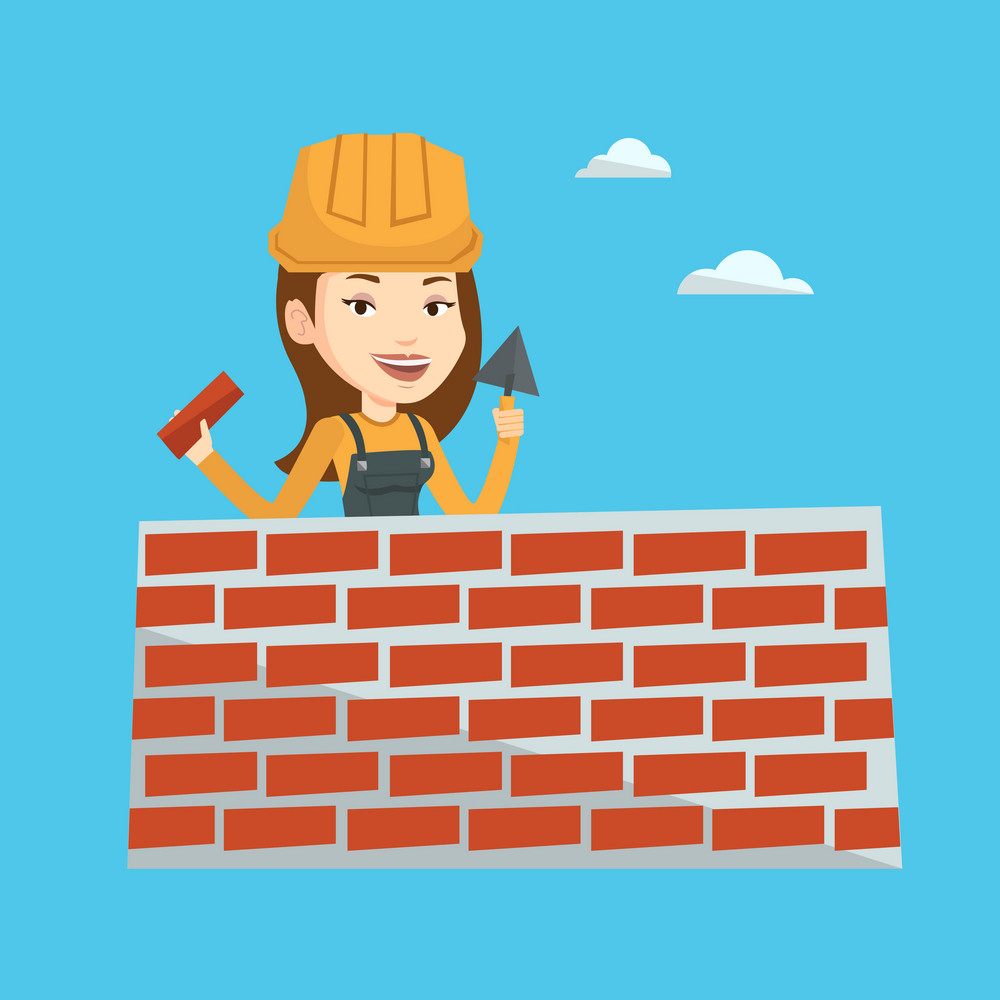 Young female bricklayer in uniform and hard hat. Caucasian bicklayer working with spatula and brick on construction site. Bricklayer building brick wall. Vector flat design illustration. Square layout
