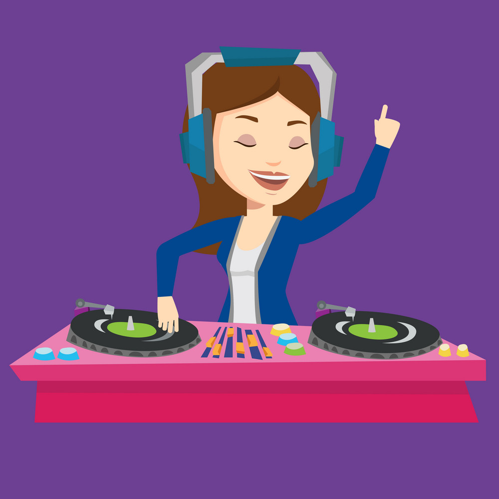 Young female DJ mixing music on turntables. DJ playing and mixing music on deck. Caucasian DJ in headphones at the party in night club. Vector flat design illustration. Square layout.