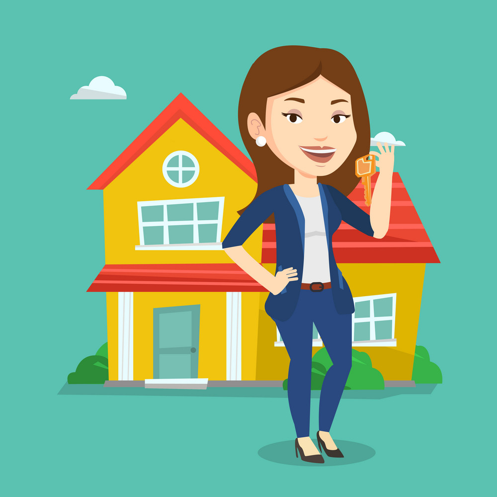 Young female real estate agent holding keys. Smiling real estate agent with keys standing on a background of the house. Happy new owner with keys house. Vector flat design illustration. Square layout.