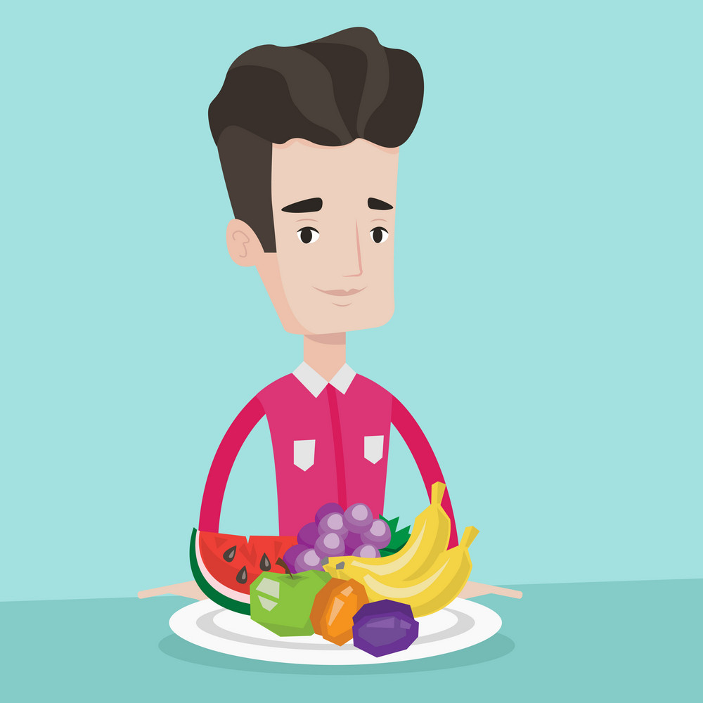 Young friendly man standing in front of table full of fresh fruits. Smiling man with plate full of fruits. Concept of healthy nutrition and dieting. Vector flat design illustration. Square layout.