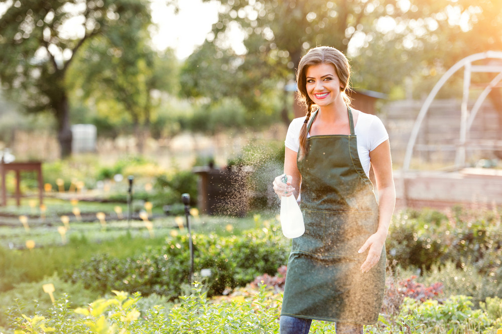Young gardener in green apron sprinkling various plants in her garden, sunny summer nature