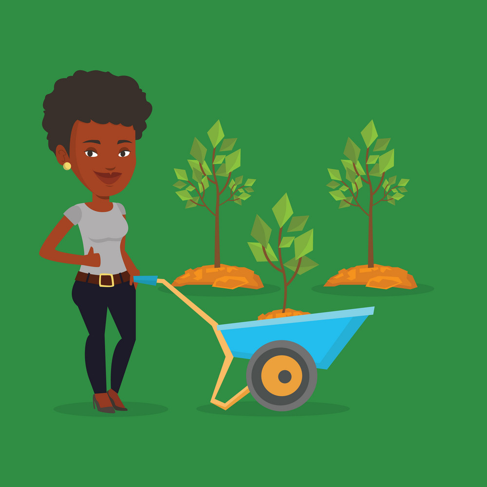 Young gardener pushing wheelbarrow with tree and dirt in the park. An african-american gardener with wheelbarrow on a background of newly planted trees. Vector flat design illustration. Square layout.