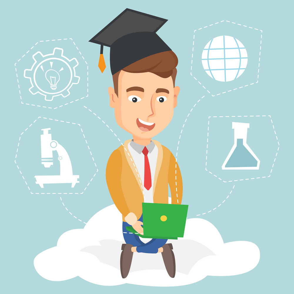 Young graduate sitting on cloud with laptop on knees. Graduate using cloud computing technologies. Concept of educational technology and cloud computing. Vector flat design illustration. Square layout