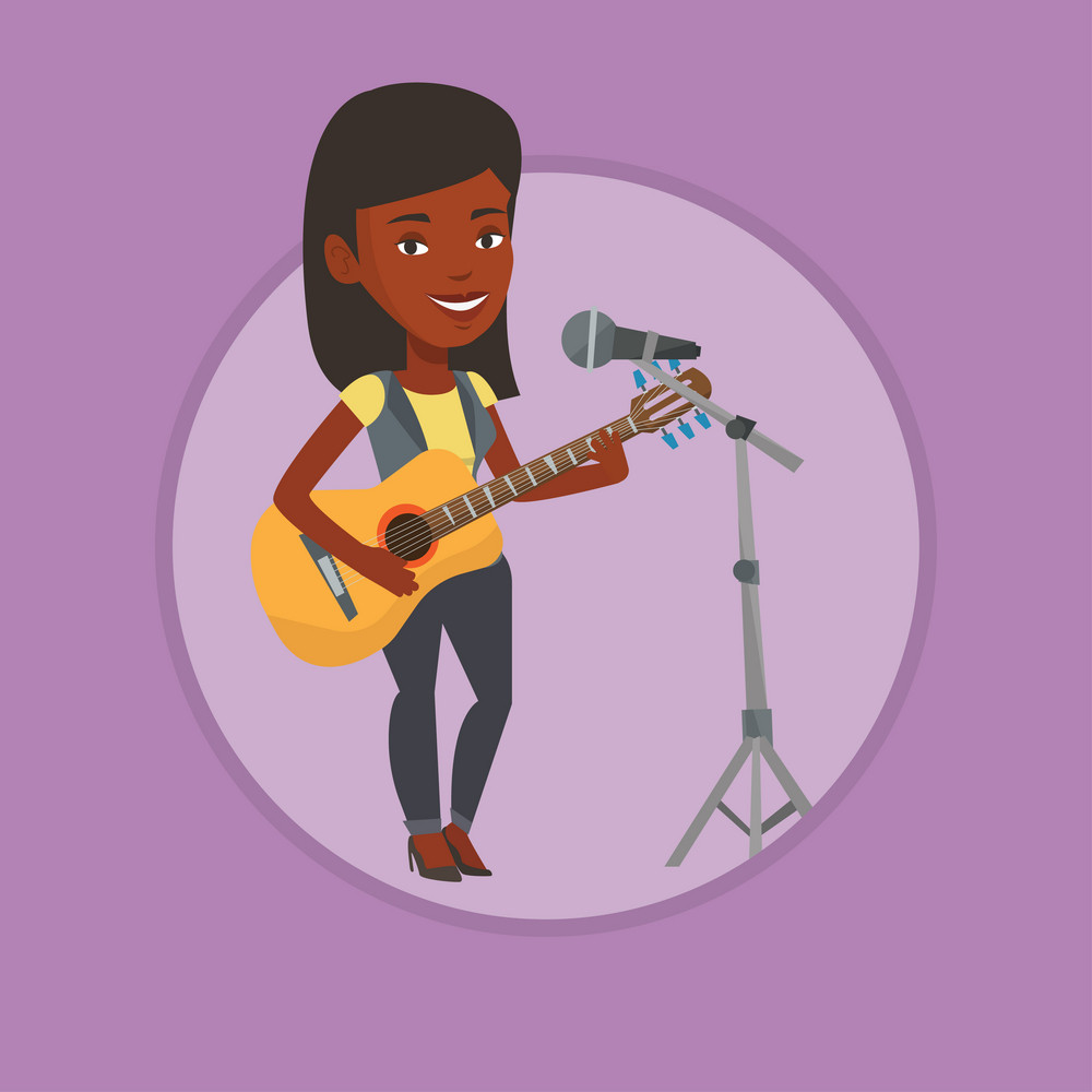 Young guitar player singing song and playing an acoustic guitar. Singer singing into a microphone and playing an acoustic guitar. Vector flat design illustration in the circle isolated on background.