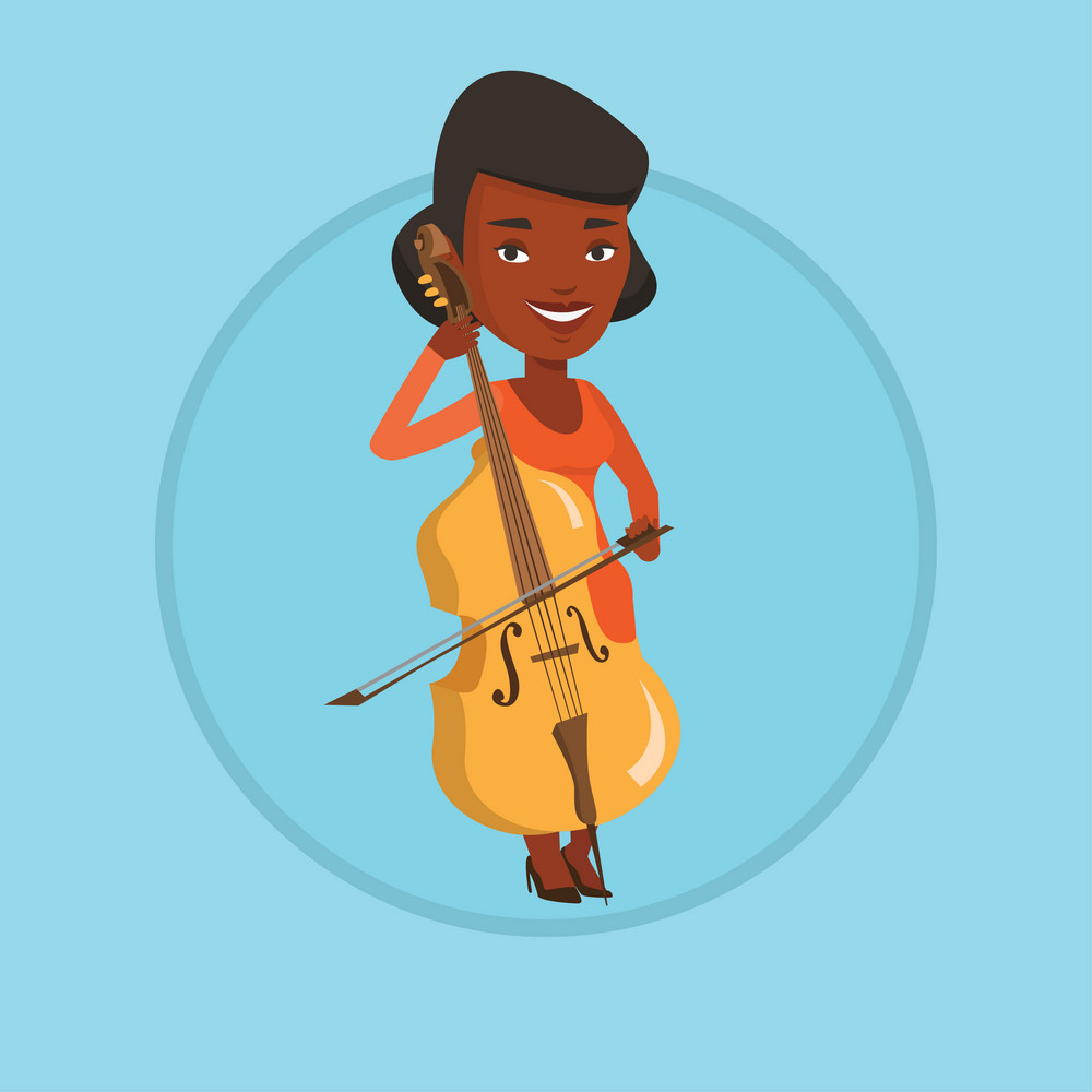 Young happy african-american musician playing cello. Cellist playing classical music on cello. Young musician with cello and bow. Vector flat design illustration in the circle isolated on background.