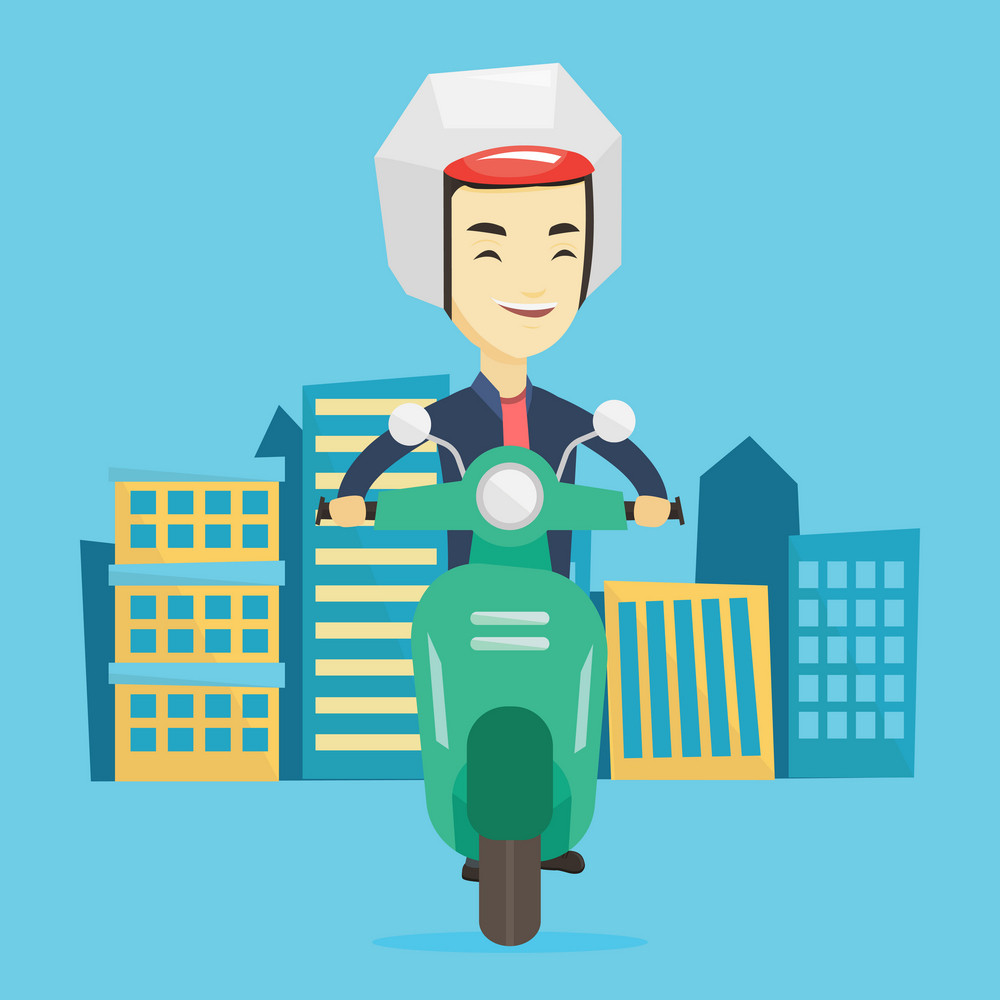 Young happy asian man riding a scooter on a city background. Cheerful man in helmet driving a scooter in the city street. Smiling man driving a scooter. Vector flat design illustration. Square layout.