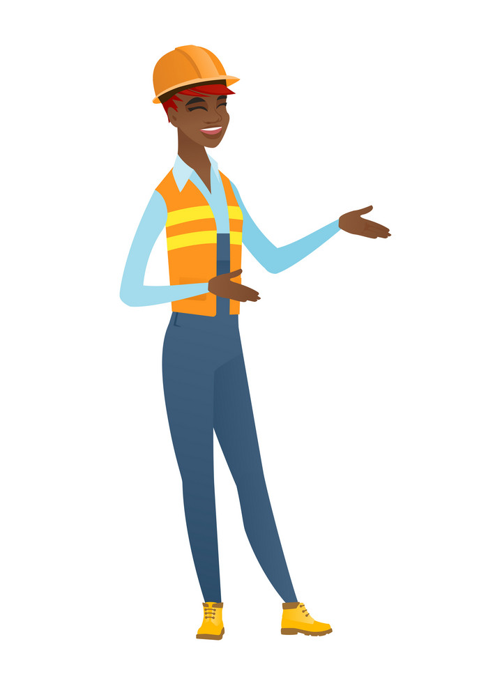Young happy builder gesturing. Full length of cheerful builder gesturing with her hands. African-american builder laughing and gesturing. Vector flat design illustration isolated on white background.