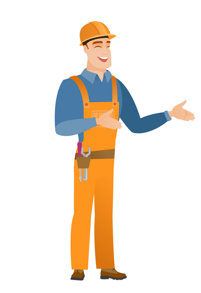 Young happy builder gesturing. Full length of cheerful builder gesturing with his hands. Caucasian builder laughing and gesturing. Vector flat design illustration isolated on white background.