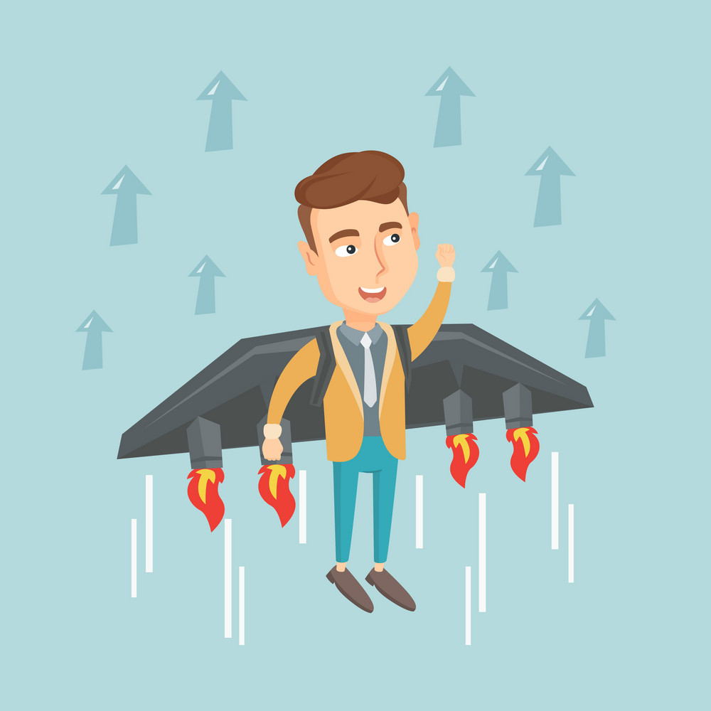 Young happy business man flying on the business start up rocket. Caucasian business man flying with a jet backpack. Business start up concept. Vector flat design illustration. Square layout.