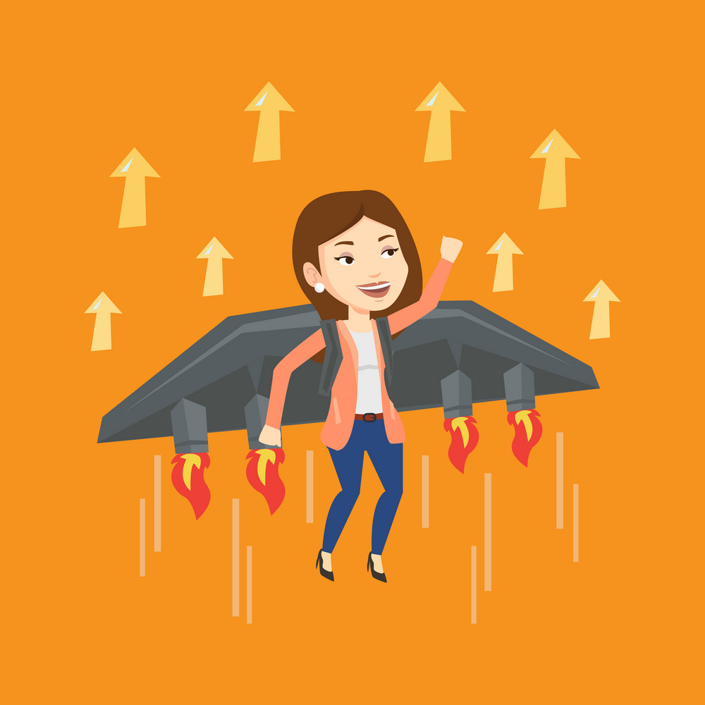 Young happy business woman flying on the business start up rocket. Caucasian businesswoman flying with a jet backpack. Business start up concept. Vector flat design illustration. Square layout.