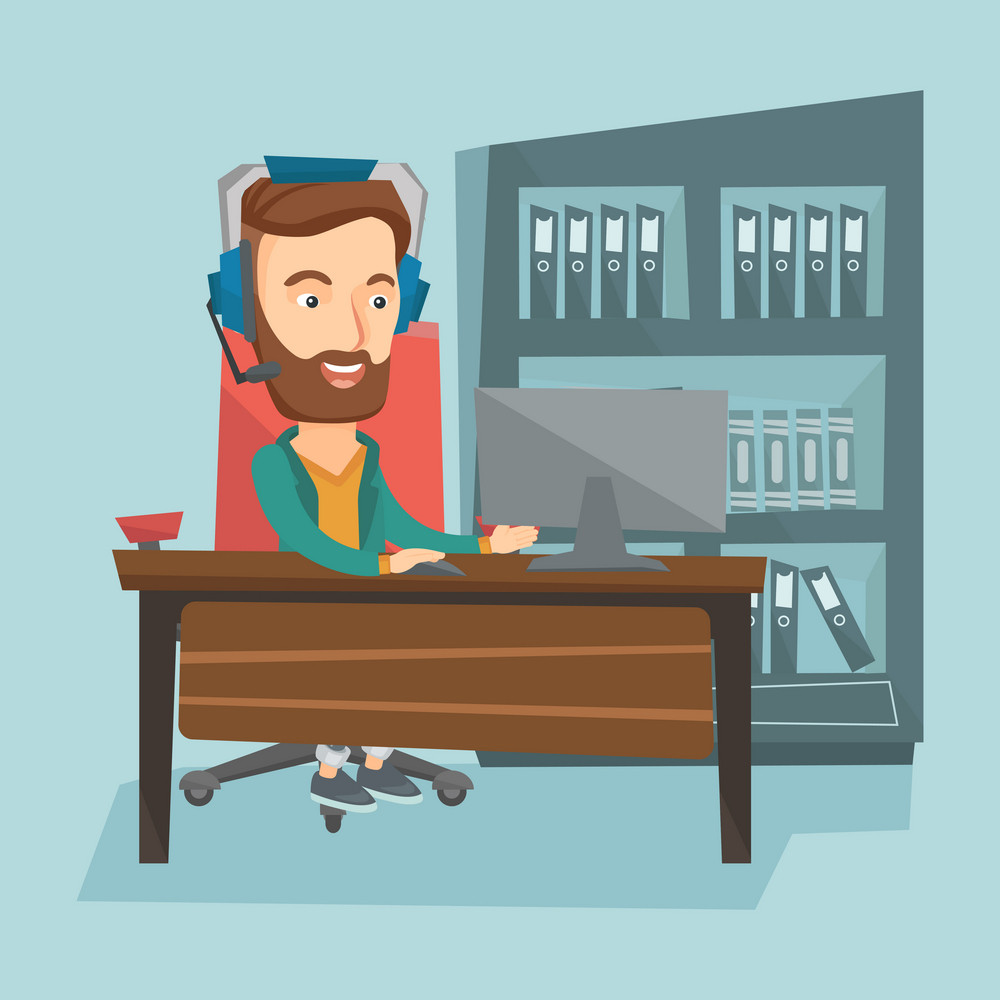 Young happy caucasian man using computer for playing games. Cheerful hipster man in headphones playing online games. Smiling man playing computer game. Vector flat design illustration. Square layout.
