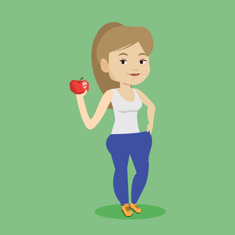 Young happy caucasian woman on a diet. Slim smiling woman in oversized pants showing the results of her diet. Concept of dieting and healthy lifestyle. Vector flat design illustration. Square layout.