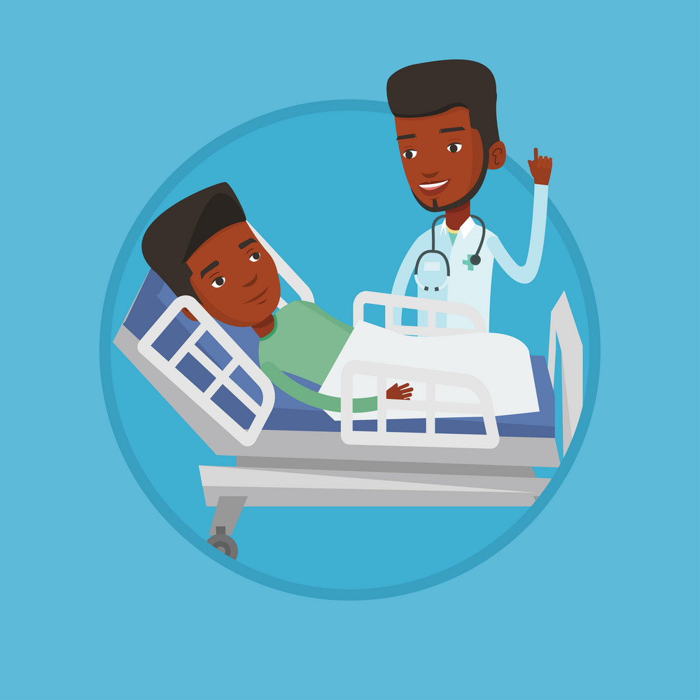 Young happy doctor with stethoscope visiting male patient at hospital. Doctor pointing finger up during consultation with patient. Vector flat design illustration in the circle isolated on background.
