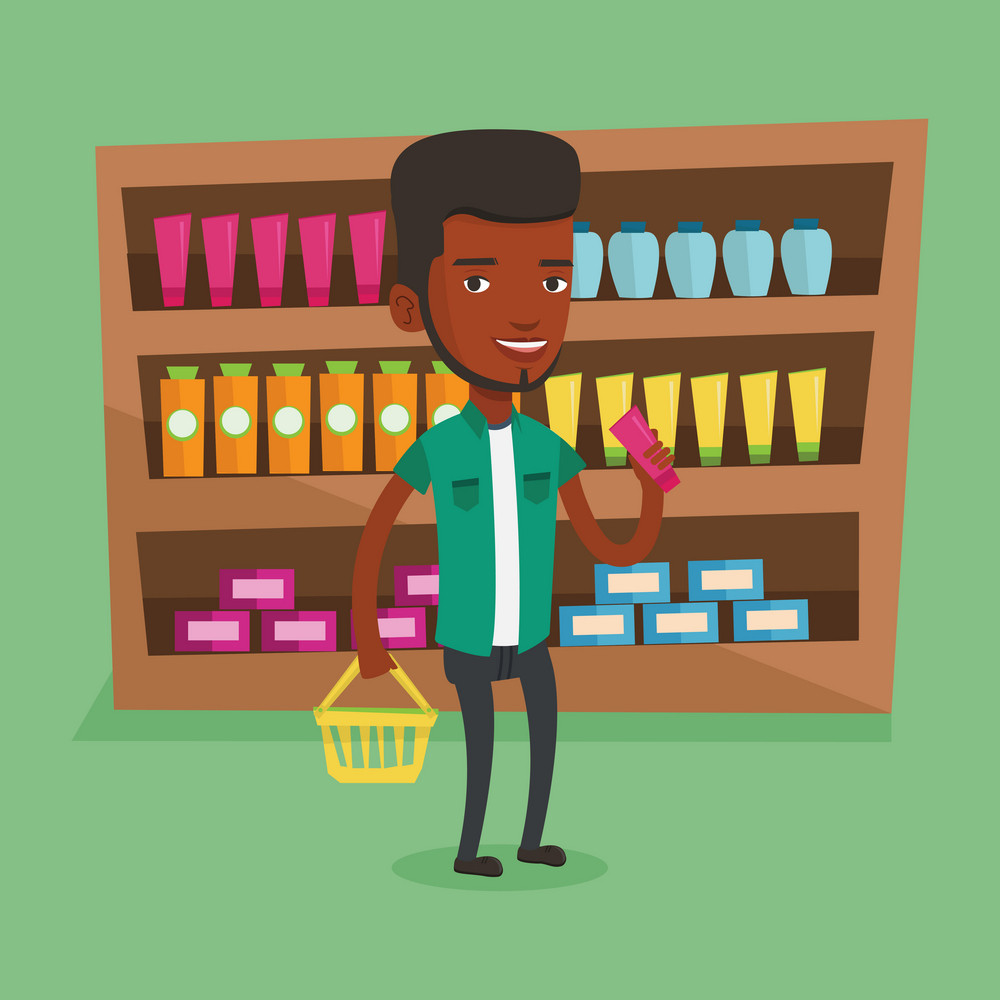 Young happy man holding a shopping basket in one hand and a tube of cream in another. African-american customer shopping at supermarket with basket. Vector flat design illustration. Square layout.