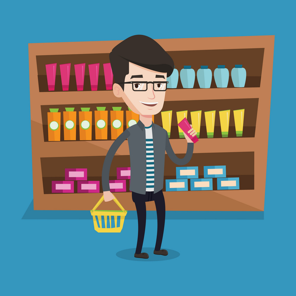 Young happy man holding a shopping basket in one hand and a tube of cream in another. Caucasian male customer shopping at supermarket with basket. Vector flat design illustration. Square layout.