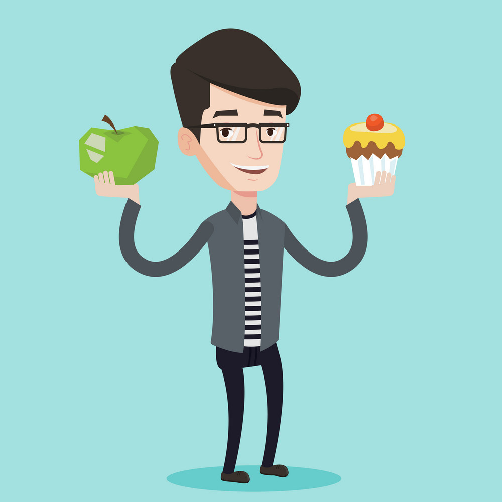 Young happy man holding an apple and cupcake in hands. Man choosing between apple and cupcake. Concept of choice between healthy and unhealthy nutrition. Vector flat design illustration. Square layout