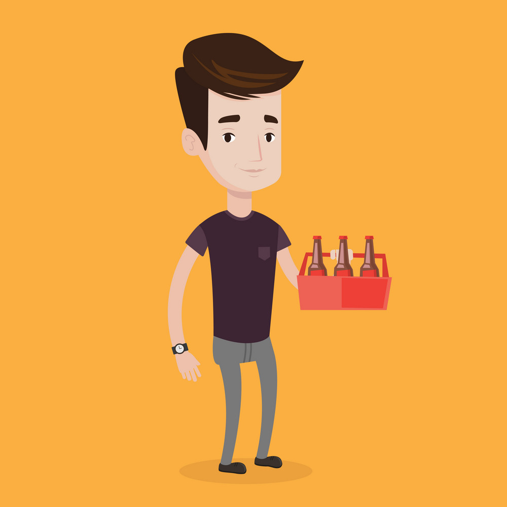 Young happy man holding pack of beer. Full length of cheerful man carrying a six pack of beer. Vector flat design illustration. Square layout.