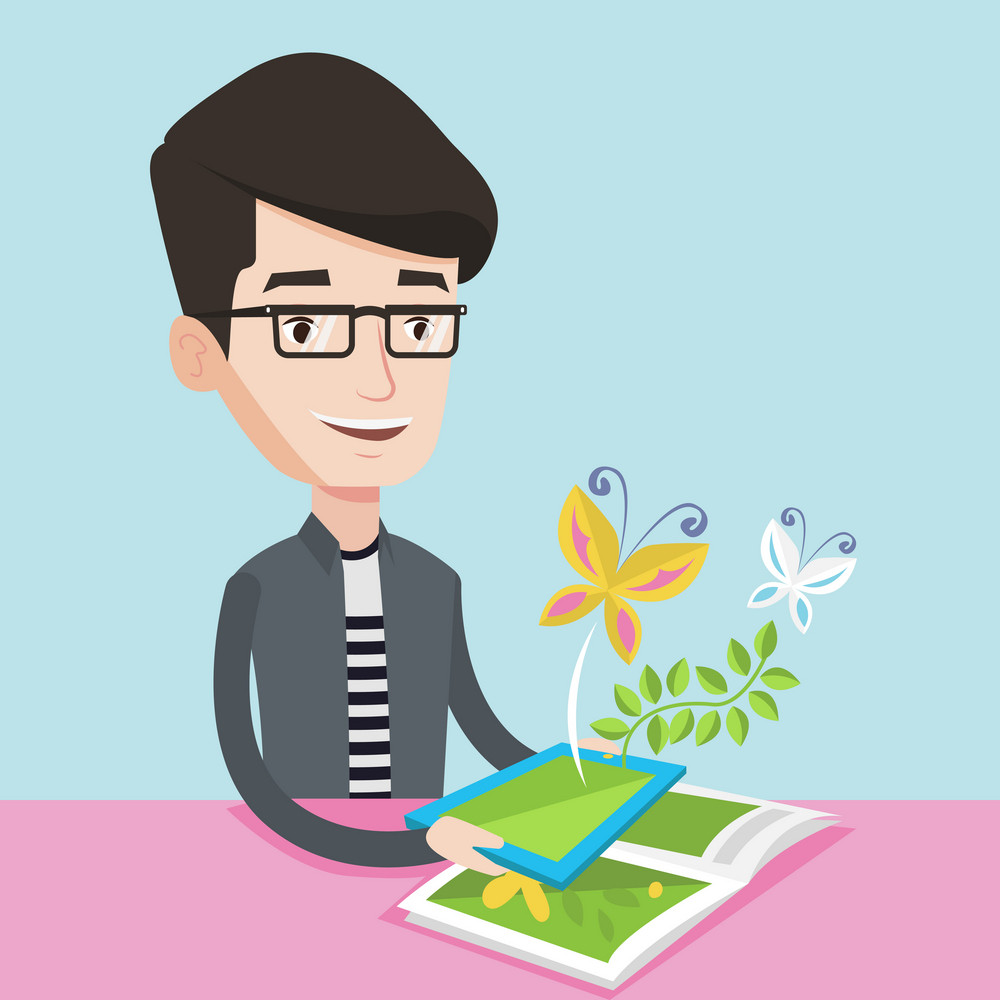 Young happy man holding tablet computer above the book. Caucasian man looking at butterflies flying out from digital tablet. Concept of augmented reality. Vector flat design illustration.Square layout