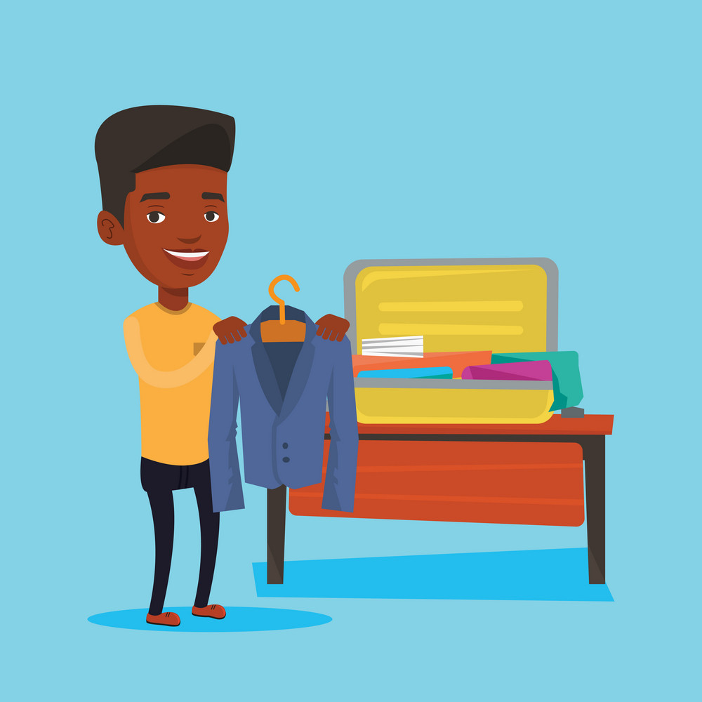 Young happy man packing his clothes in an opened suitcase. Smiling african-american man putting a jacket into a suitcase. Man preparing for vacation. Vector flat design illustration. Square layout.