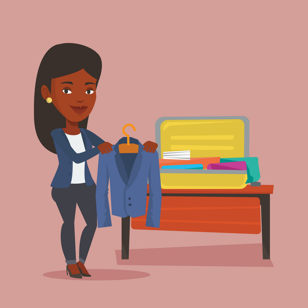 Young happy woman packing clothes in an opened suitcase. Smiling african-american woman putting a jacket into a suitcase. Woman preparing for vacation. Vector flat design illustration. Square layout.