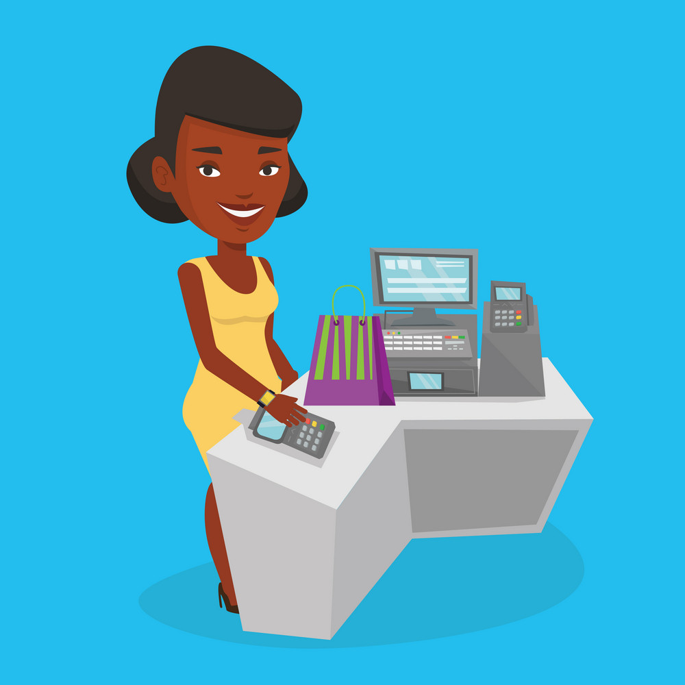 Young happy woman paying wireless with her smart watch at the checkout counter. African-american customer making payment for purchase with smart watch. Vector flat design illustration. Square layout.