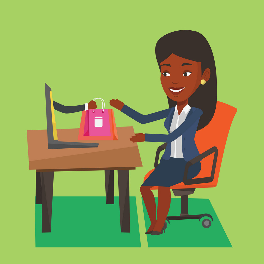 Young happy woman shopping online. Smiling woman making online order in virtual shop. Cheerful african-american woman using laptop for online shopping. Vector flat design illustration. Square layout.