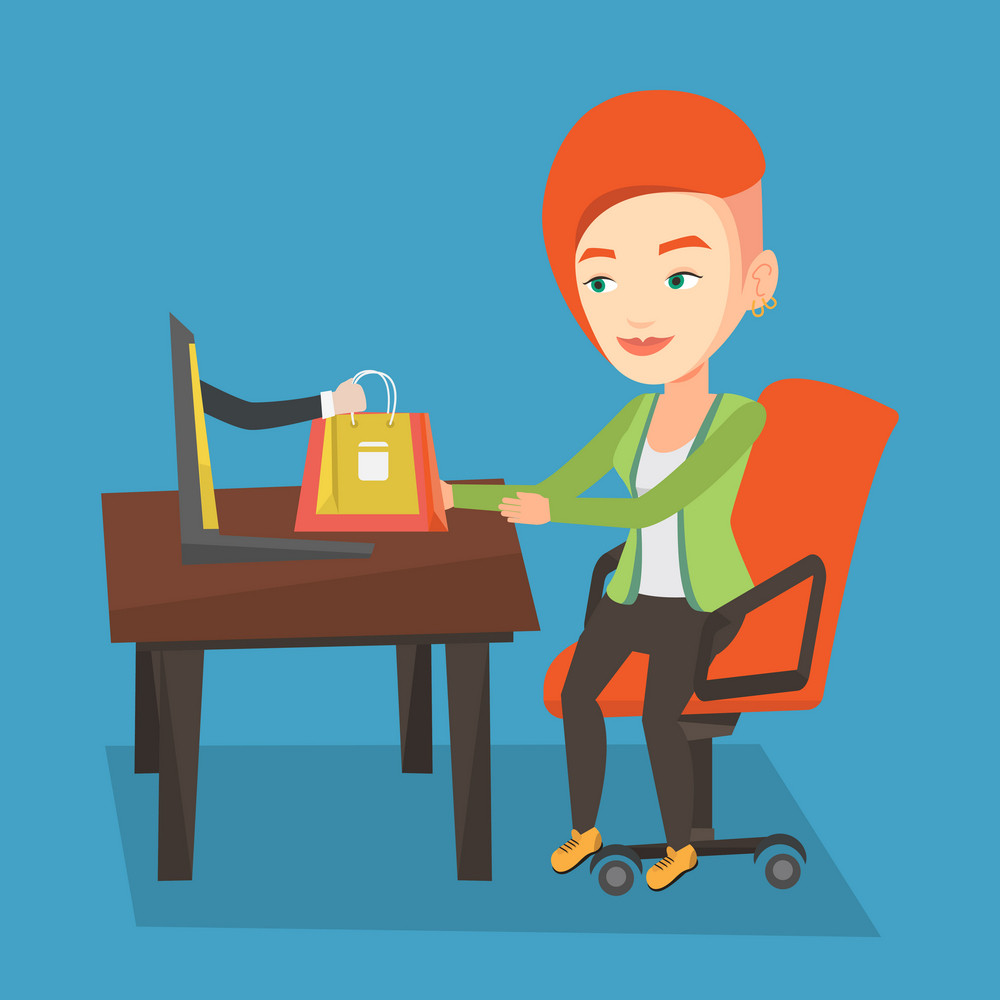 Young happy woman shopping online. Smiling woman making online order in virtual shop. Cheerful caucasian woman using laptop for online shopping. Vector flat design illustration. Square layout.