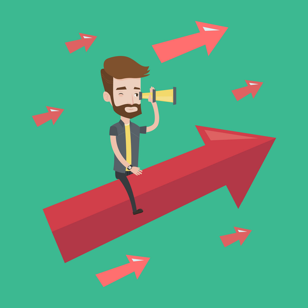 Young hipster businessman sitting on the arrow going up and looking through spyglass. Concept of business vision and moving forward for business growth. Vector flat design illustration. Square layout.