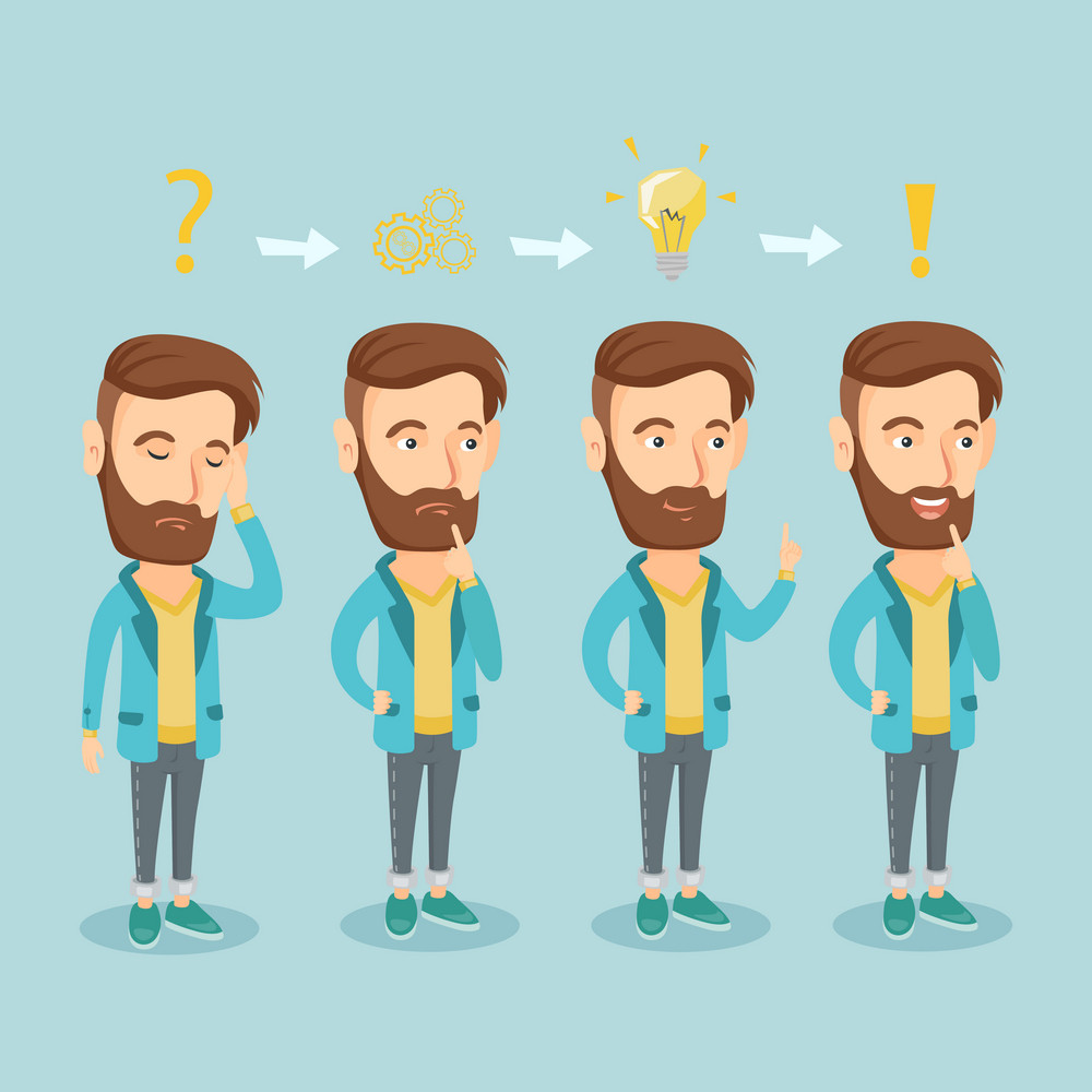 Young hipster businessman with the beard during business planning. Caucasian businessman working on a new business plan. Business planning concept. Vector flat design illustration. Square layout.