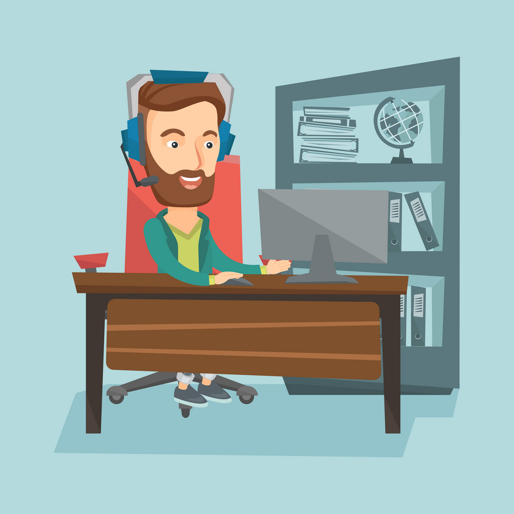 Young hipster caucasian office worker with beard using computer. Cheerful office worker in headset working on a computer. Office worker wearing headset. Vector flat design illustration. Square layout.