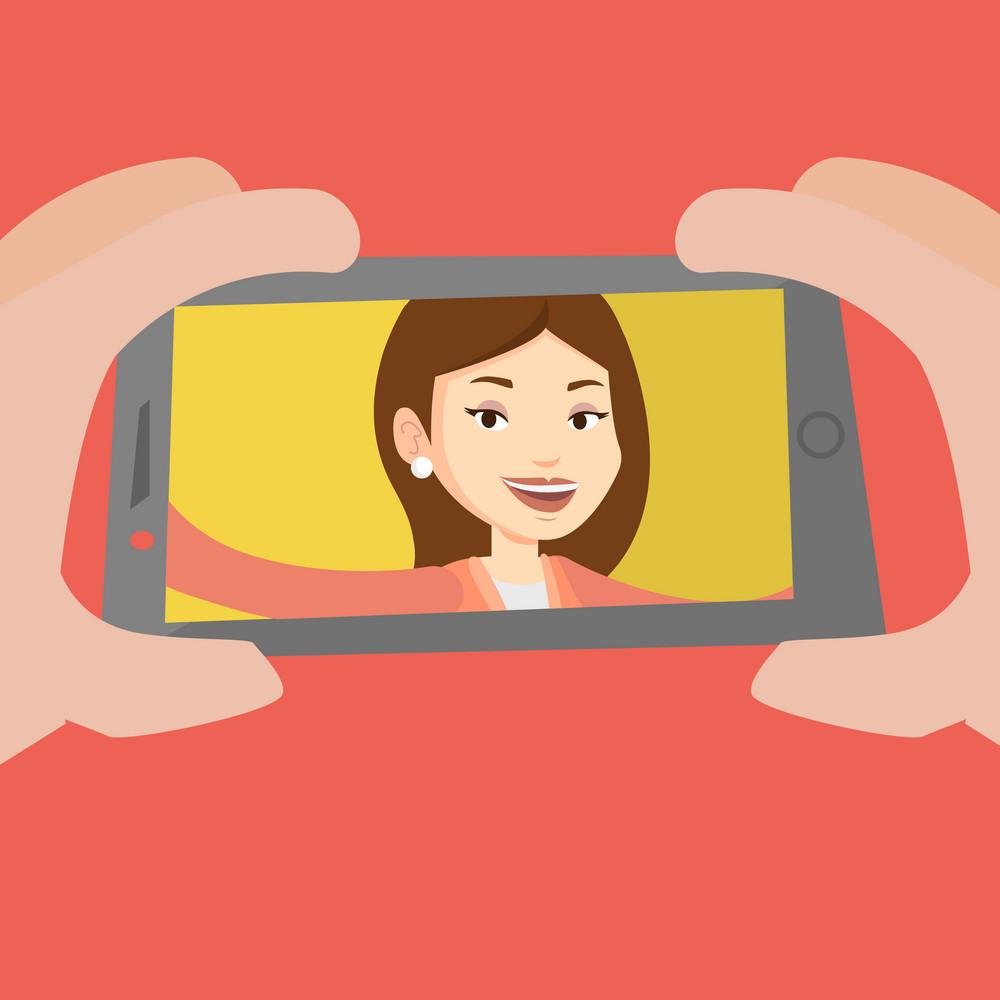 Young joyful caucasian woman making selfie. Smiling woman making selfie with cellphone. Woman taking selfie. Vector flat design illustration. Square layout.
