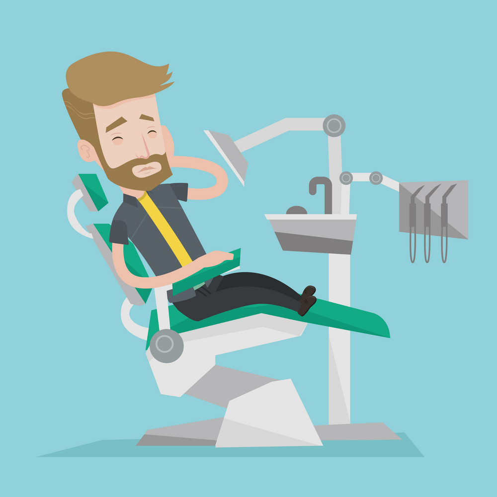 Young male patient sitting at the chair at the dental office. Sad man suffering from tooth pain. A hipster man with the beard having a toothache. Vector flat design illustration. Square layout.