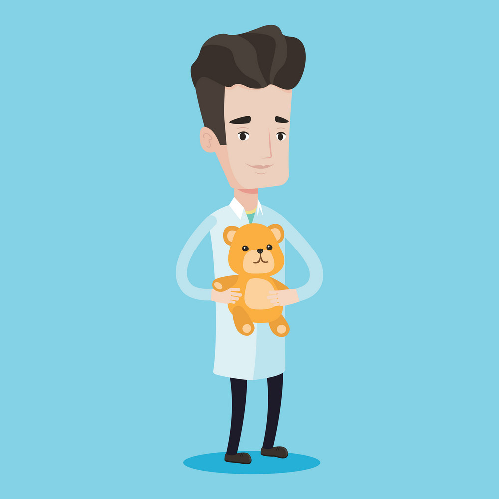 Young male pediatrician doctor holding a teddy bear. Professional pediatrician doctor standing with a teddy bear. Vector flat design illustration isolated on blue background. Square layout.