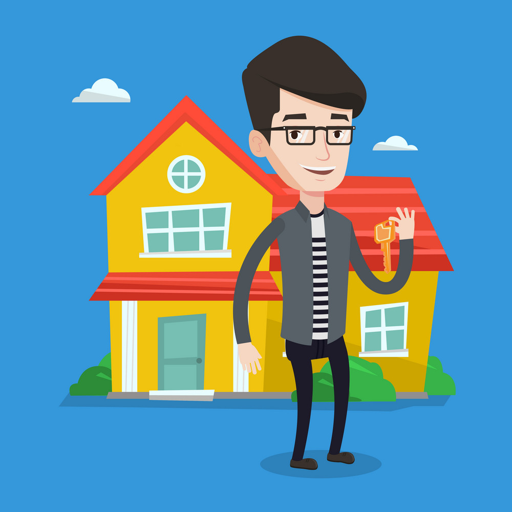 Young male real estate agent holding key. Smiling real estate agent with keys standing on a background of the house. Happy new owner of a house. Vector flat design illustration. Square layout.