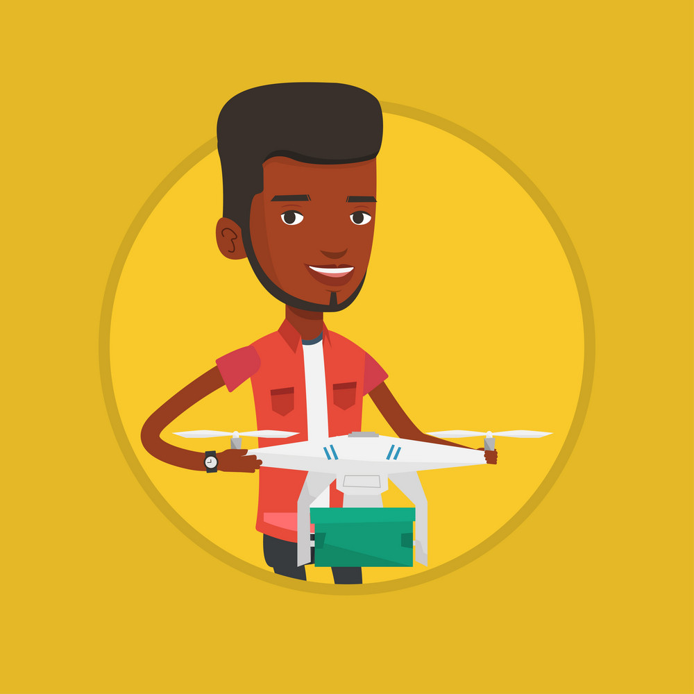 Young man controlling delivery drone with parcel. Man getting parcel from delivery drone. Man sending parcel with delivery drone. Vector flat design illustration in the circle isolated on background.