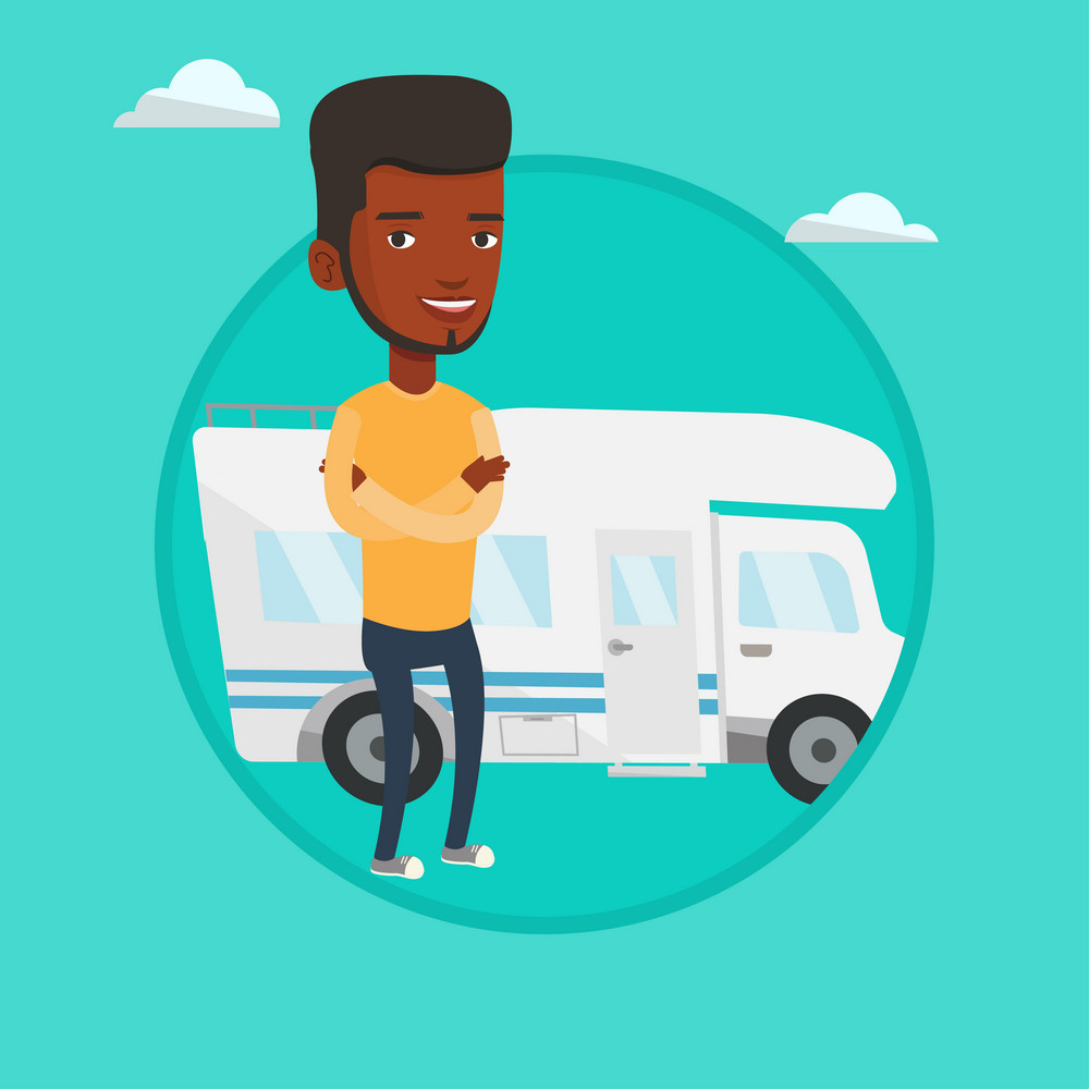 Young man enjoying her vacation in motor home. Man standing with arms crossed in front of motor home. Man traveling by motor home. Vector flat design illustration in the circle isolated on background.