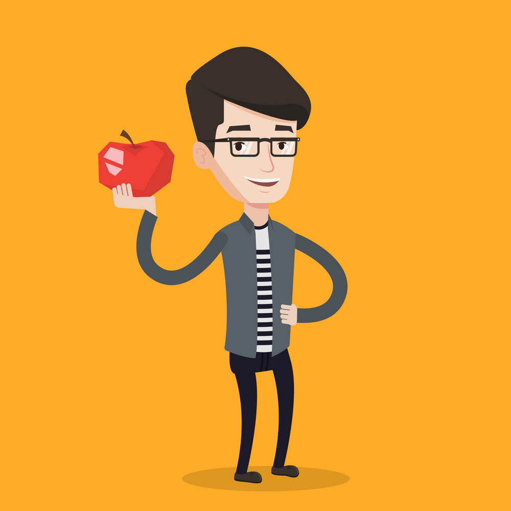 Young man holding an apple in hand. Cheerful man eating an apple. Smiling caucasian man enjoying fresh healthy red apple. Concept of healthy nutrition. Vector flat design illustration. Square layout.