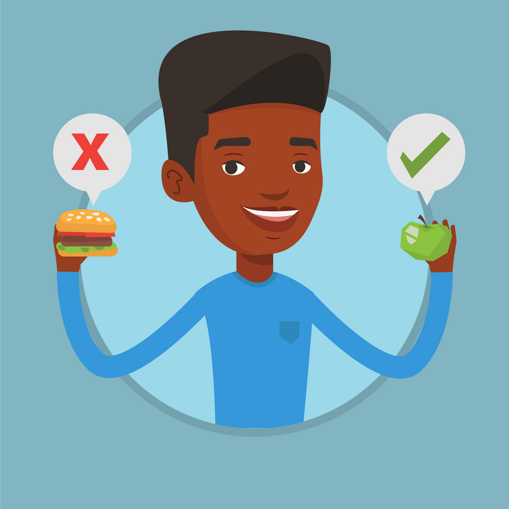 Young man holding apple and hamburger. Man choosing between apple and hamburger. Man choosing between healthy and unhealthy nutrition. Vector flat design illustration in circle isolated on background.