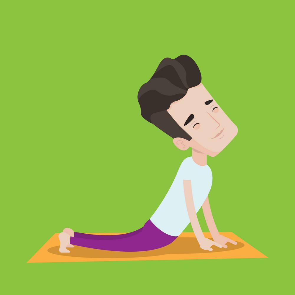 Young man practicing yoga upward dog pose. Man meditating in yoga upward dog position. Man doing yoga. Vector flat design illustration. Square layout.
