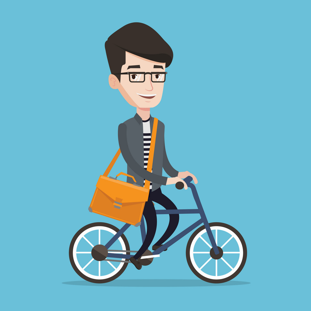 Young man riding a bicycle. Cyclist riding bike. Businessman with briefcase on a bike. Healthy lifestyle concept. Vector flat design illustration. Square layout.