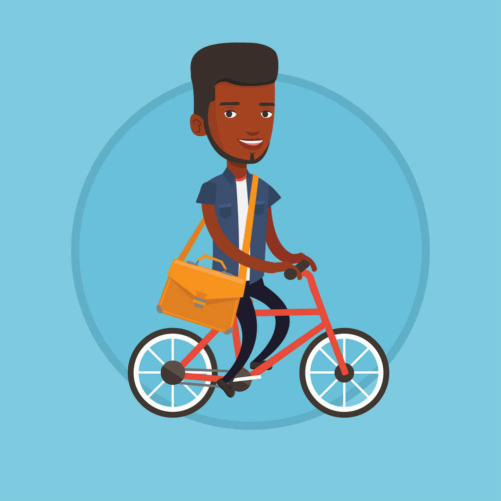 Young man riding a bicycle to work. Cyclist riding a bicycle. Businessman with briefcase on a bicycle. Healthy lifestyle concept. Vector flat design illustration in the circle isolated on background.