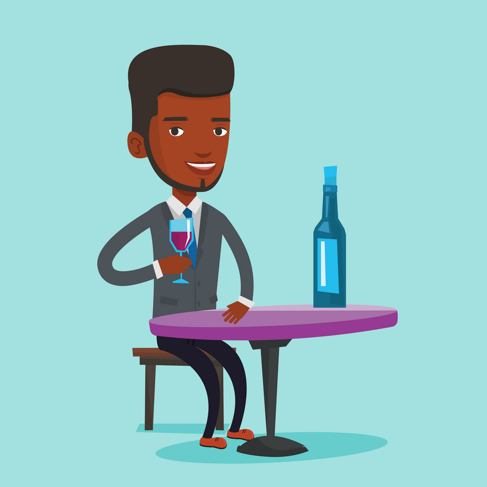Young man sitting at the table with glass and bottle of wine. An african-american man drinking wine at restaurant. Man enjoying a drink at wine bar. Vector flat design illustration. Square layout