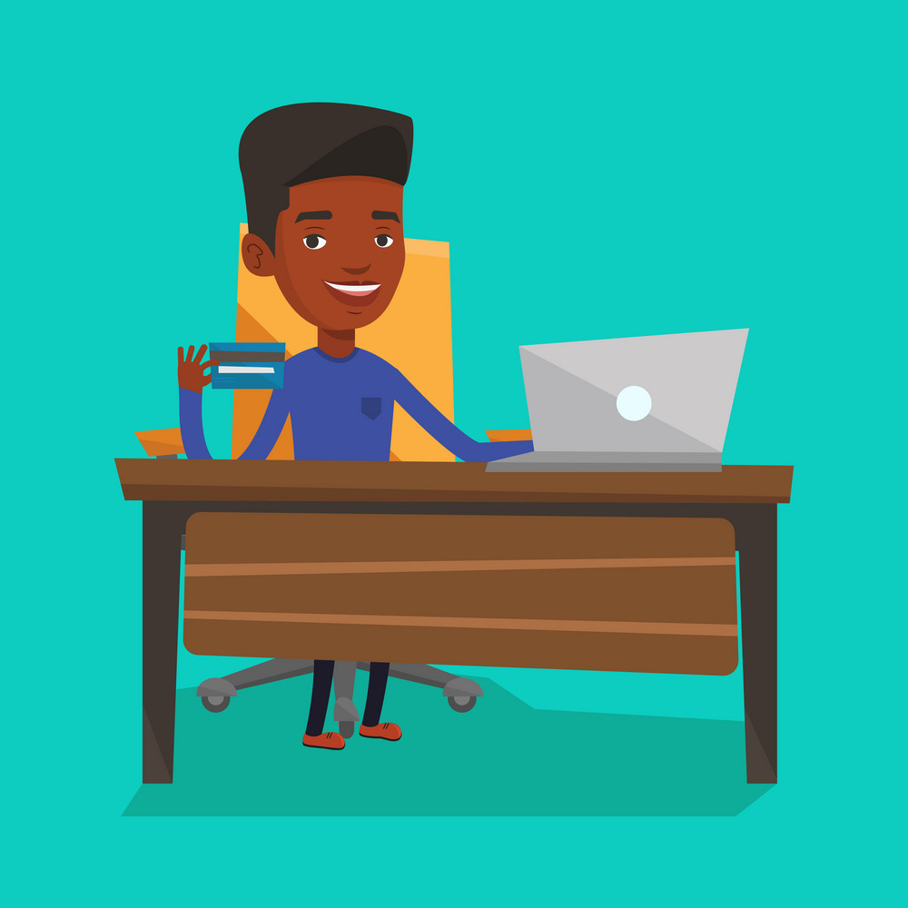 Young man sitting at the table with laptop and holding a credit card in hand. Customer using laptop for online shopping. Man shopping online at home. Vector flat design illustration. Square layout.