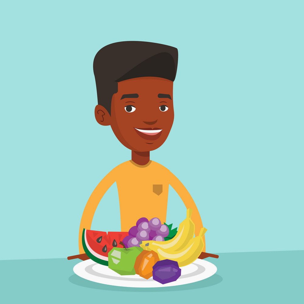 Young man standing in front of table woth fresh fruits. Smiling man with plate full of fruits. An african-american man eating fresh healthy fruits. Vector flat design illustration. Square layout.